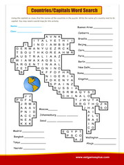 Countries Capitals Word Search