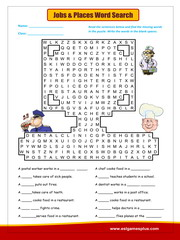Jobs and Places word search
