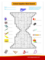 school supplies word search
